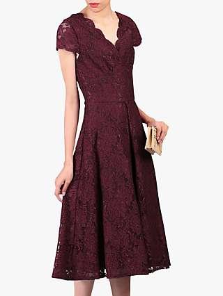 Jolie Moi Cap Sleeve Lace Dress, Burgundy