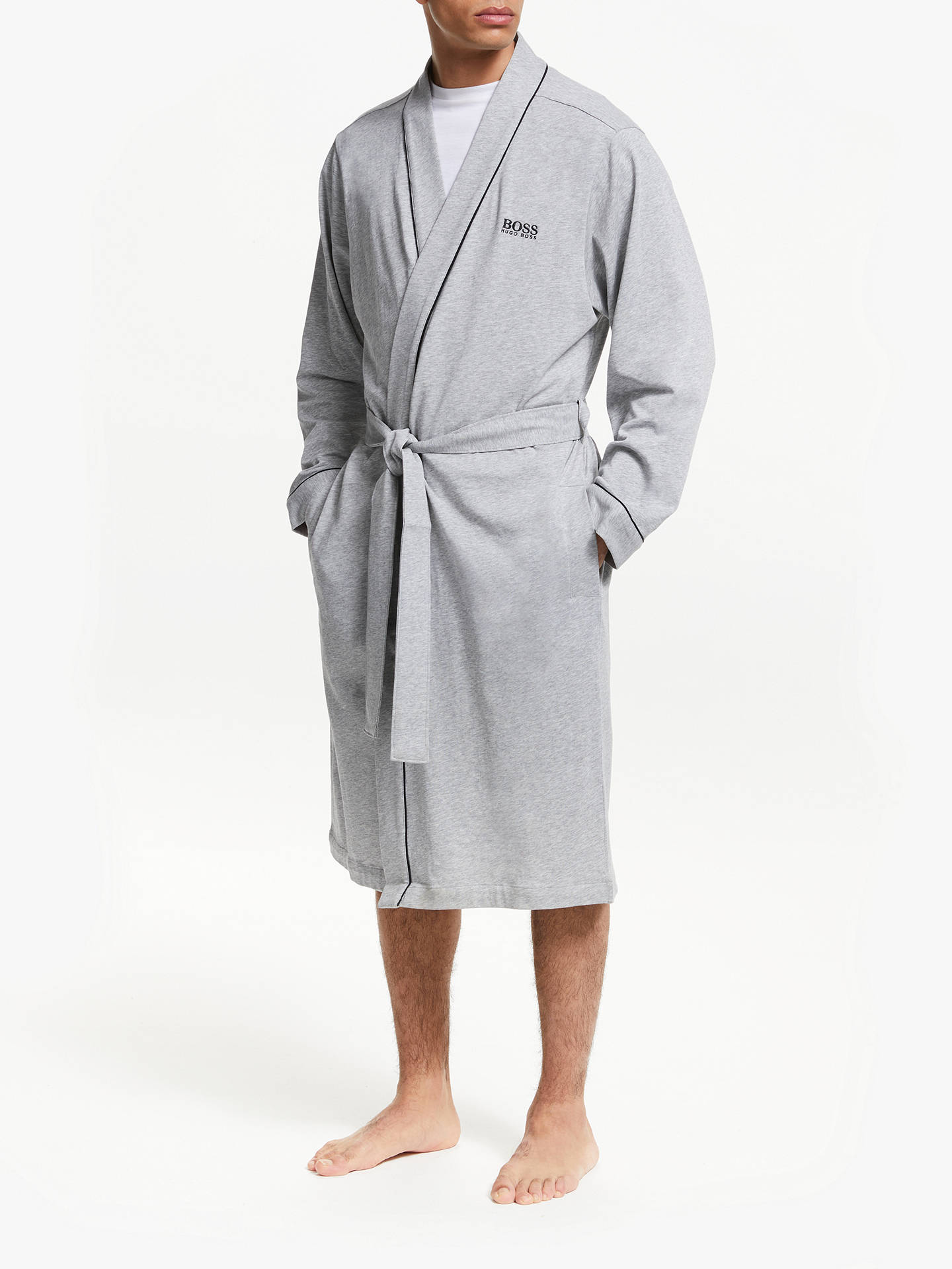 16d984cdc83d Buy BOSS Contrast Piping Cotton Kimono Robe, Grey, L Online at  johnlewis.com ...