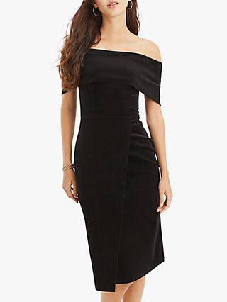 Oasis Velvet Bardot Pencil Dress, Black