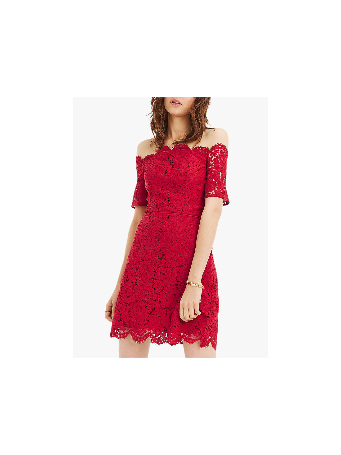 31e8859afda6 Buy Oasis Lace Bardot Shift Dress, Red, 6 Online at johnlewis.com ...