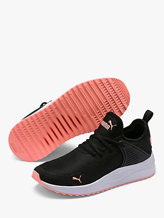 PUMA Children's Pacer Next Cage Trainers, Black/White/Pink
