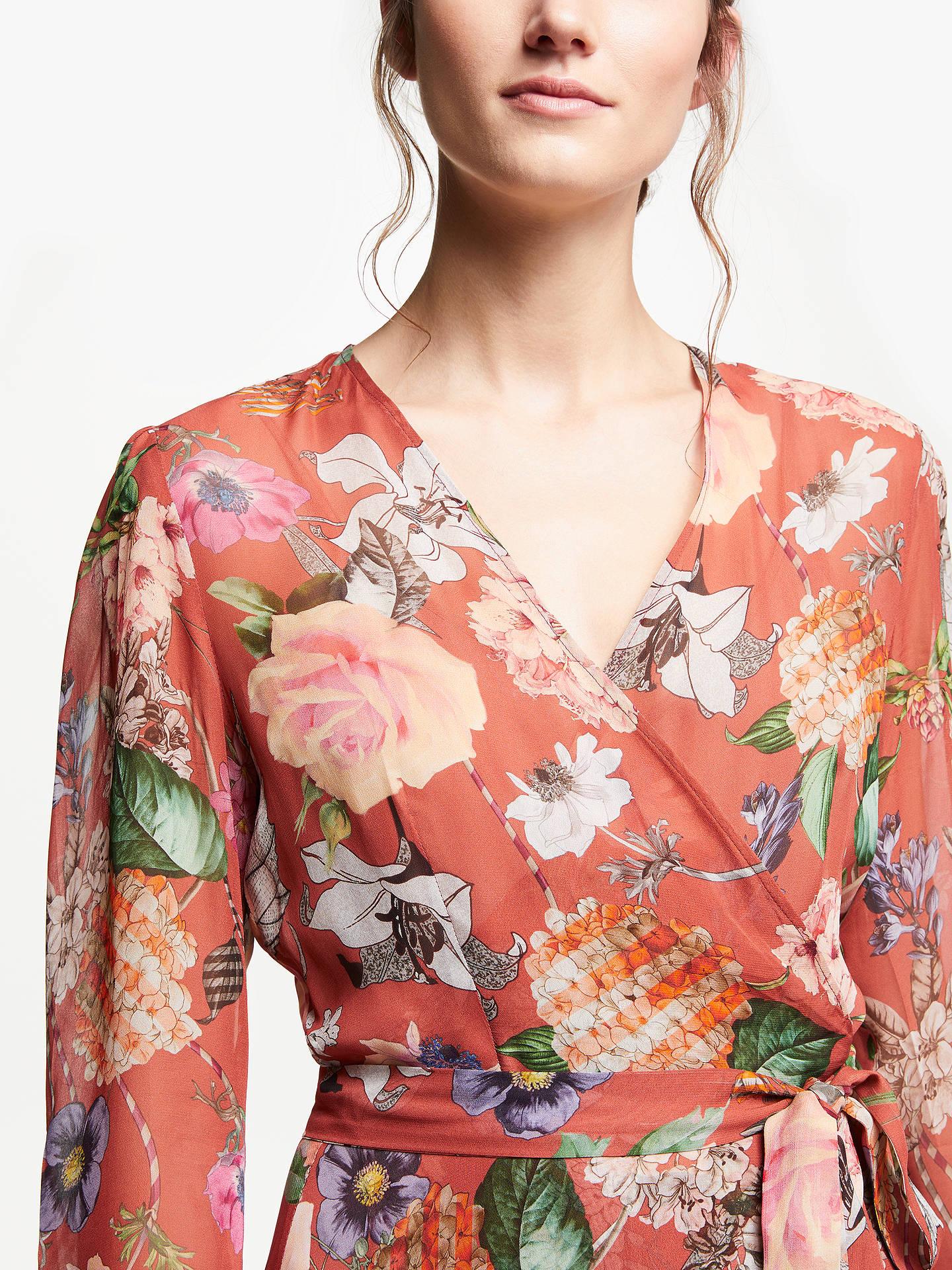 Marella Floral Print Wrap Dress, Terracotta at John Lewis