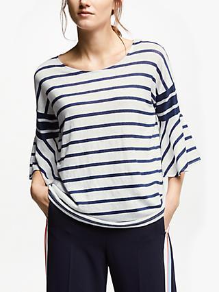 8d9ab10e6302b5 Marella Linen Stripe Bell Sleeve Top