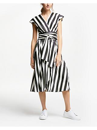 Marella Stripe Wrap Dress, Black/White