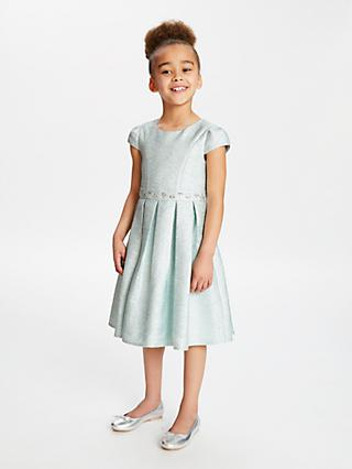 John Lewis & Partners Heirloom Collection Girls' Metallic Dress, Mint Green