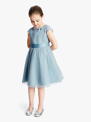 6b0c5550f3 John Lewis & Partners Heirloom Collection Girls' Half Lace Dress, Light Blue