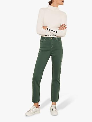 Mint Velvet Meribel Cut Off Jeans, Green