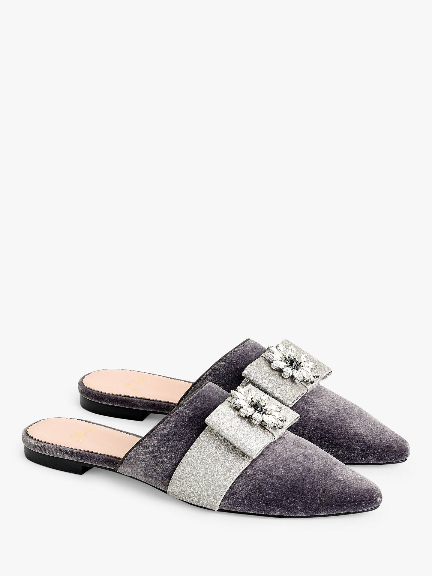 9ebefeee4 J.Crew Knot Glitter Bow Flat Mules, Grey/Silver at John Lewis & Partners