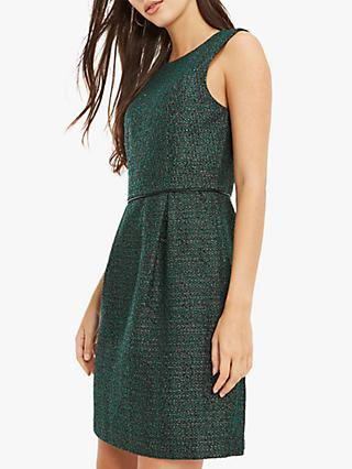 Oasis Tweed Long Shift Dress, Green