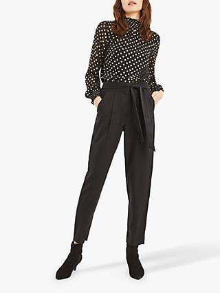 Oasis Satin Back Crepe Trousers, Black
