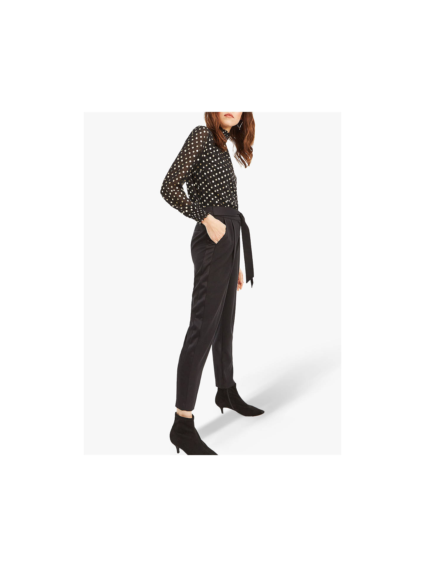 BuyOasis Satin Back Crepe Trousers, Black, 12S Online at johnlewis.com