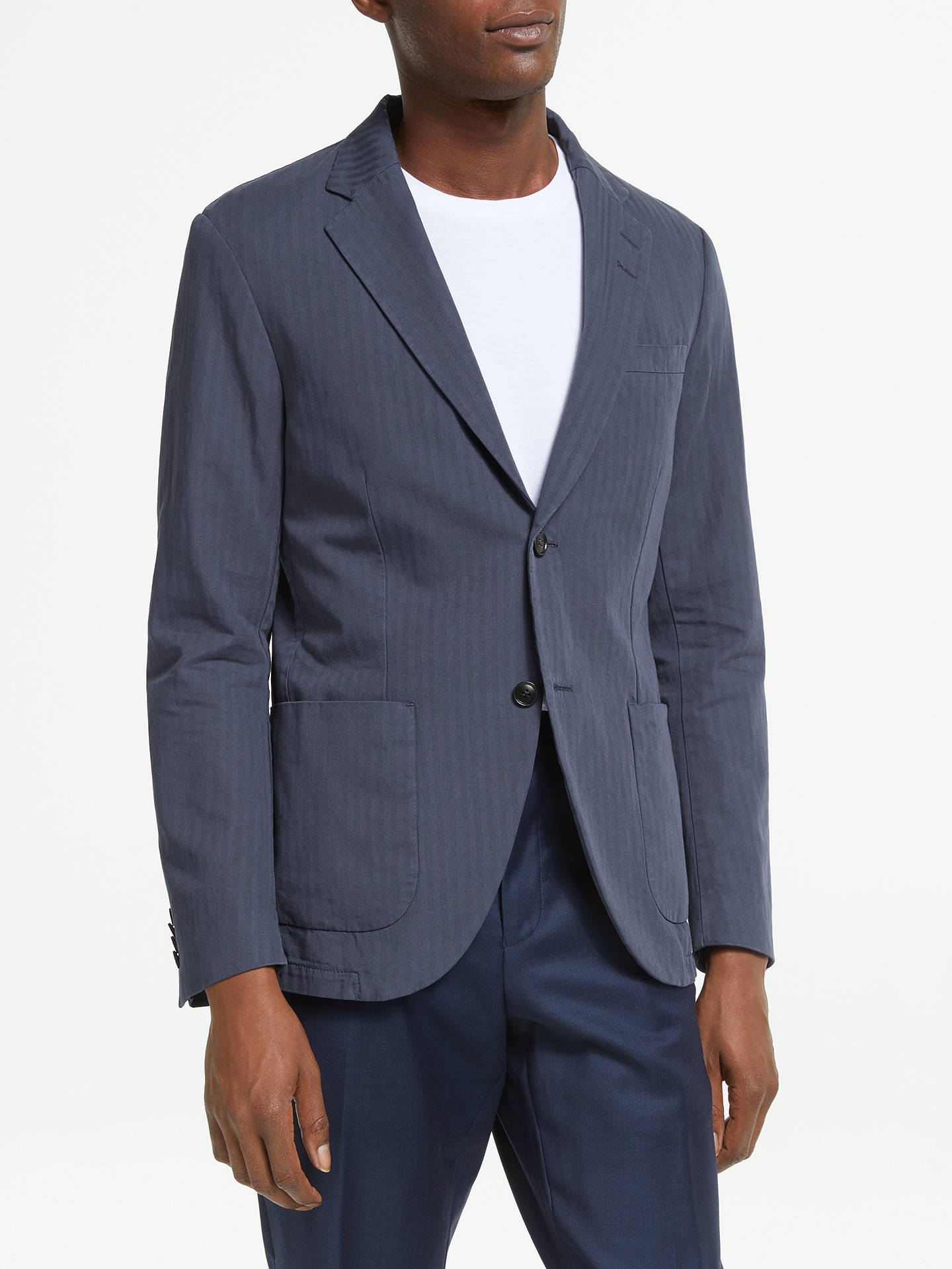 1f4f4f9aae9a Buy Tiger of Sweden Cotton Linen Herringbone Slim Fit Blazer, Navy, 36R  Online at ...