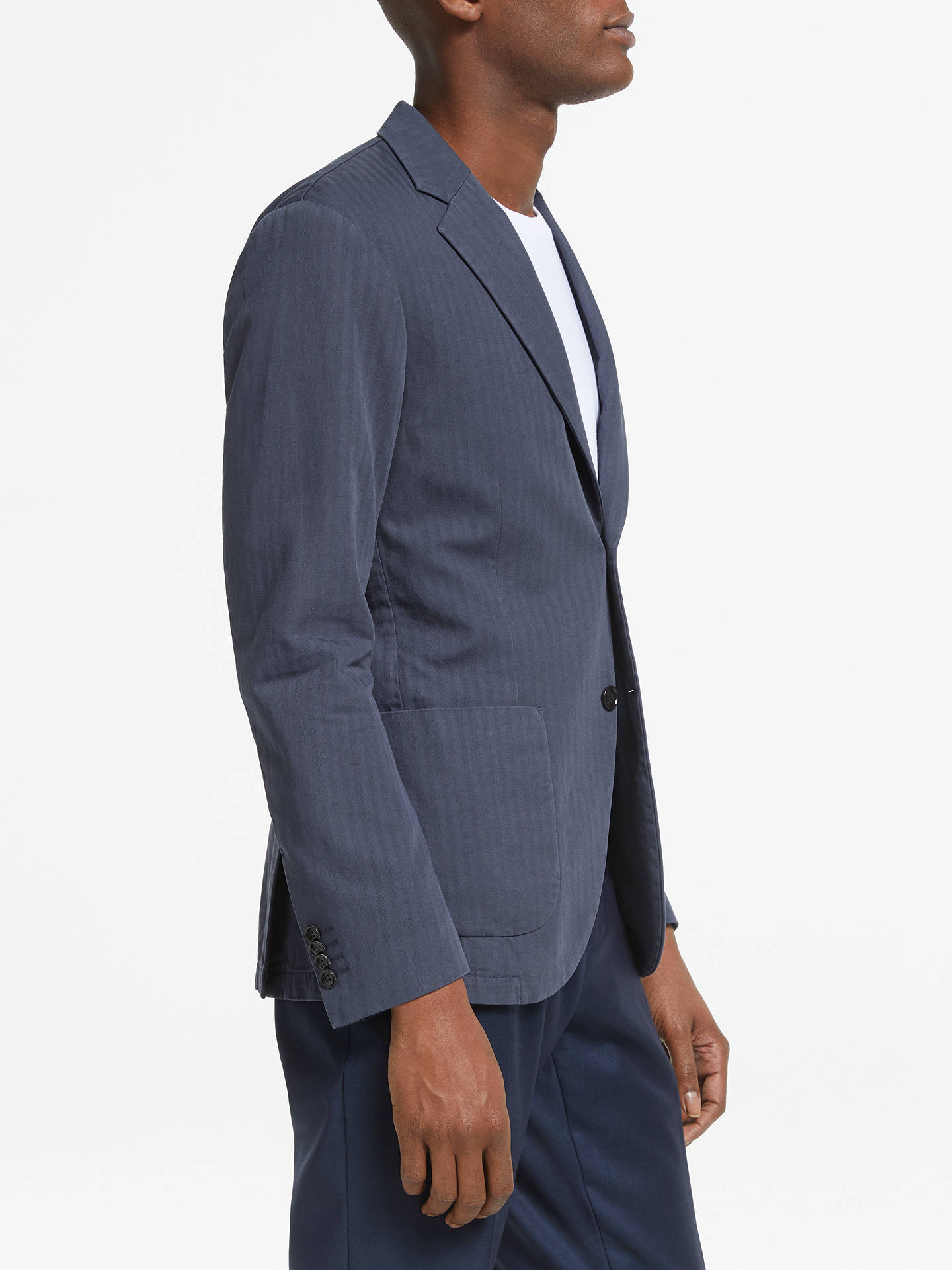 5bed276039bf ... Buy Tiger of Sweden Cotton Linen Herringbone Slim Fit Blazer, Navy, 36R  Online at