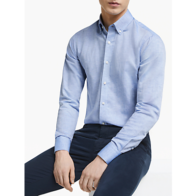 Tiger of Sweden Fenald Cotton Linen Slim Fit Shirt, Blue