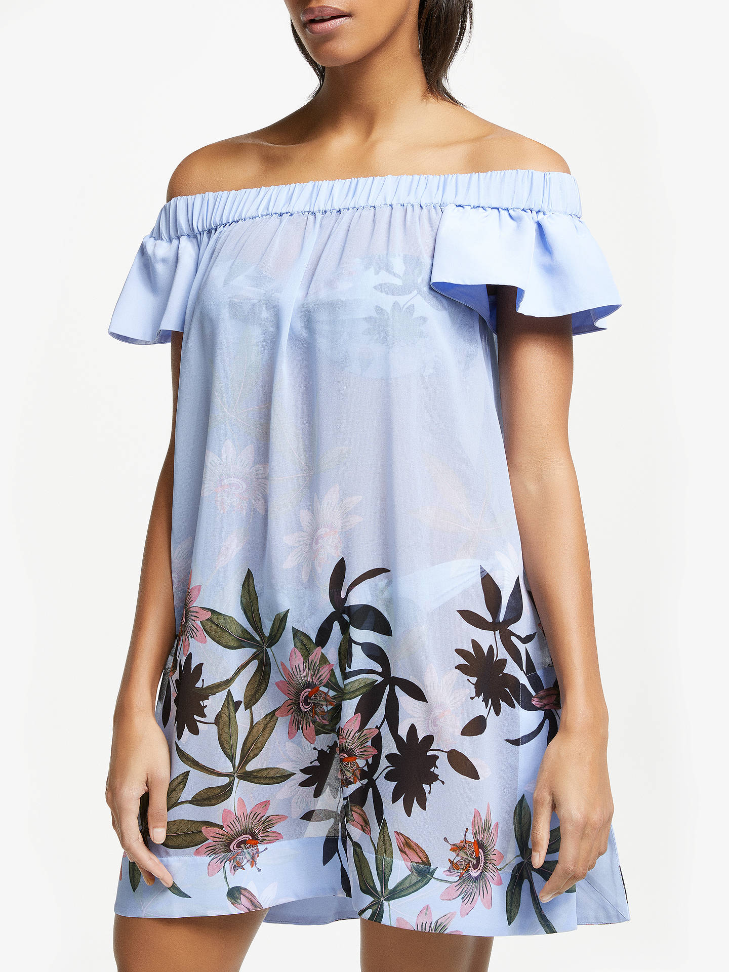 630f79e907 Buy Ted Baker Belriaa Floral Illusion Print Cover Up, Heavenly Blue, S  Online at ...