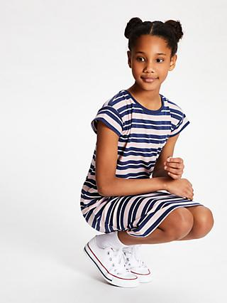 John Lewis & Partners Girls' Stripe T-Shirt Dress, Blue