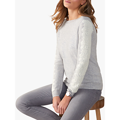 Pure Collection Lace Detail Jumper, Grey/White