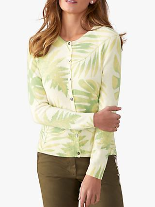 Pure Collection Crew Neck Leaf Print Cashmere Cardigan, Soft Green