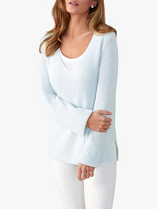 Pure Collection Toccato Textured Knit Jumper, Blue Mist