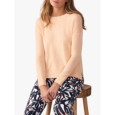 Pure Collection Toccato Relaxed Split Hem Jumper, Heather Peach