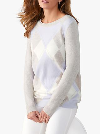 Pure Collection Boyfriend Cashmere Jumper, Lilac Argyle