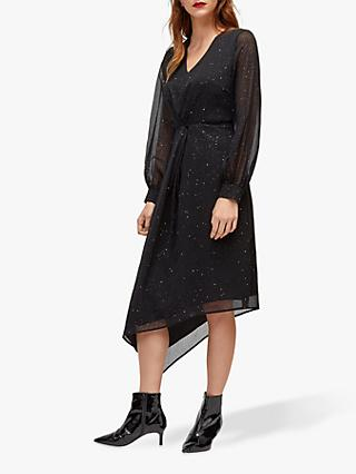 Warehouse Glitter Asymmetric Midi Dress, Black