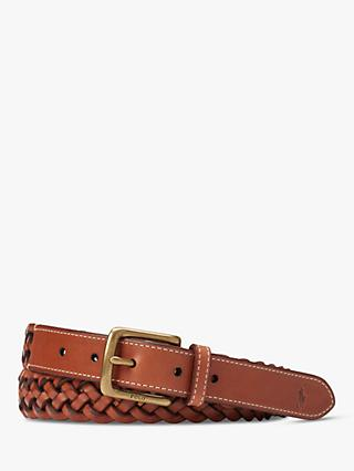 Polo Ralph Lauren Braided Leather Belt, Brown