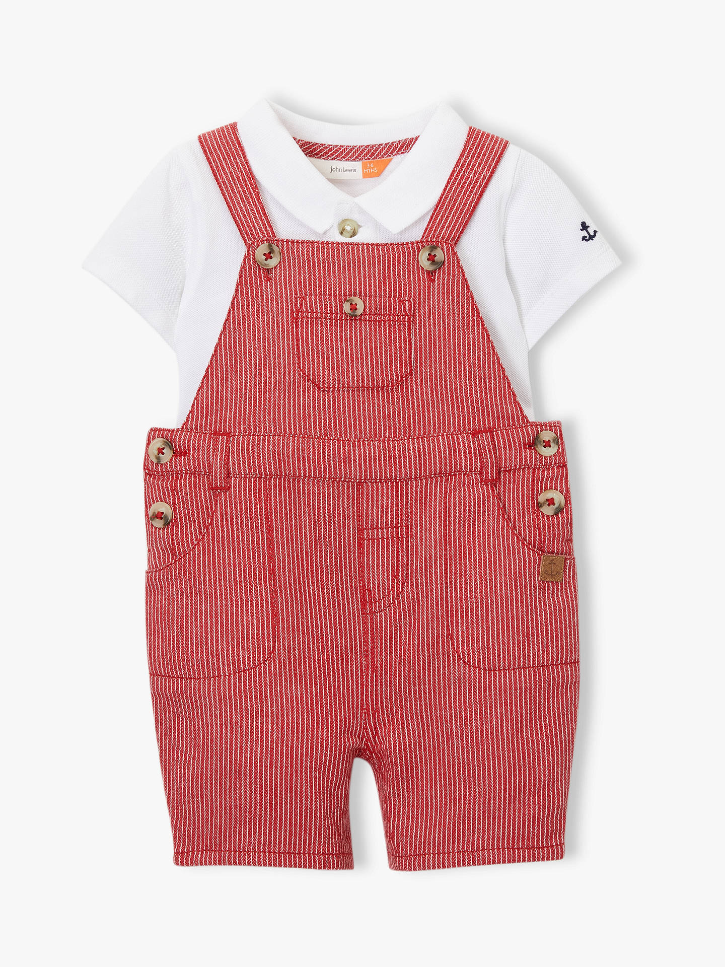 3a861148b John Lewis   Partners Baby Stripe Dungaree and T-Shirt Set