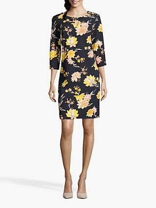 Betty Barclay Floral Print Dress, Dark Blue/Yellow