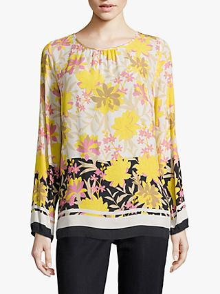 Betty Barclay Floral Print Blouse, Dark Blue/Yellow