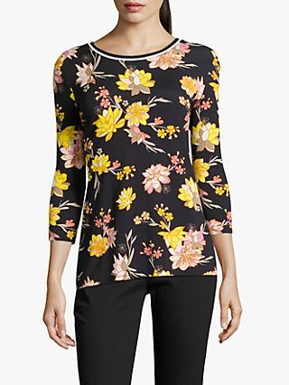 Betty Barclay Floral Jersey Top, Dark Blue/Yellow
