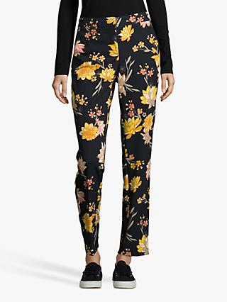 Betty Barclay Floral Print Trousers, Dark Blue/Yellow