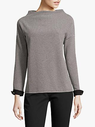Betty Barclay Houndstooth Jersey Tunic, Black/Cream