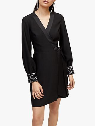 Warehouse Embellished Cuff Mini Dress, Black