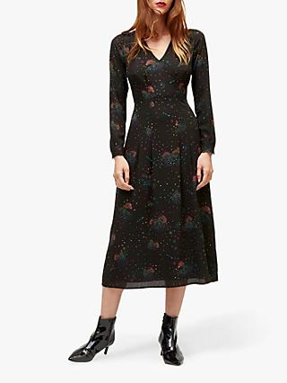 Warehouse Cloud Nine Midi Tea Dress, Black