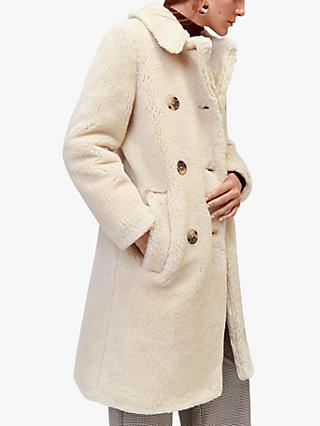 Warehouse Long Teddy Bear Coat, Cream