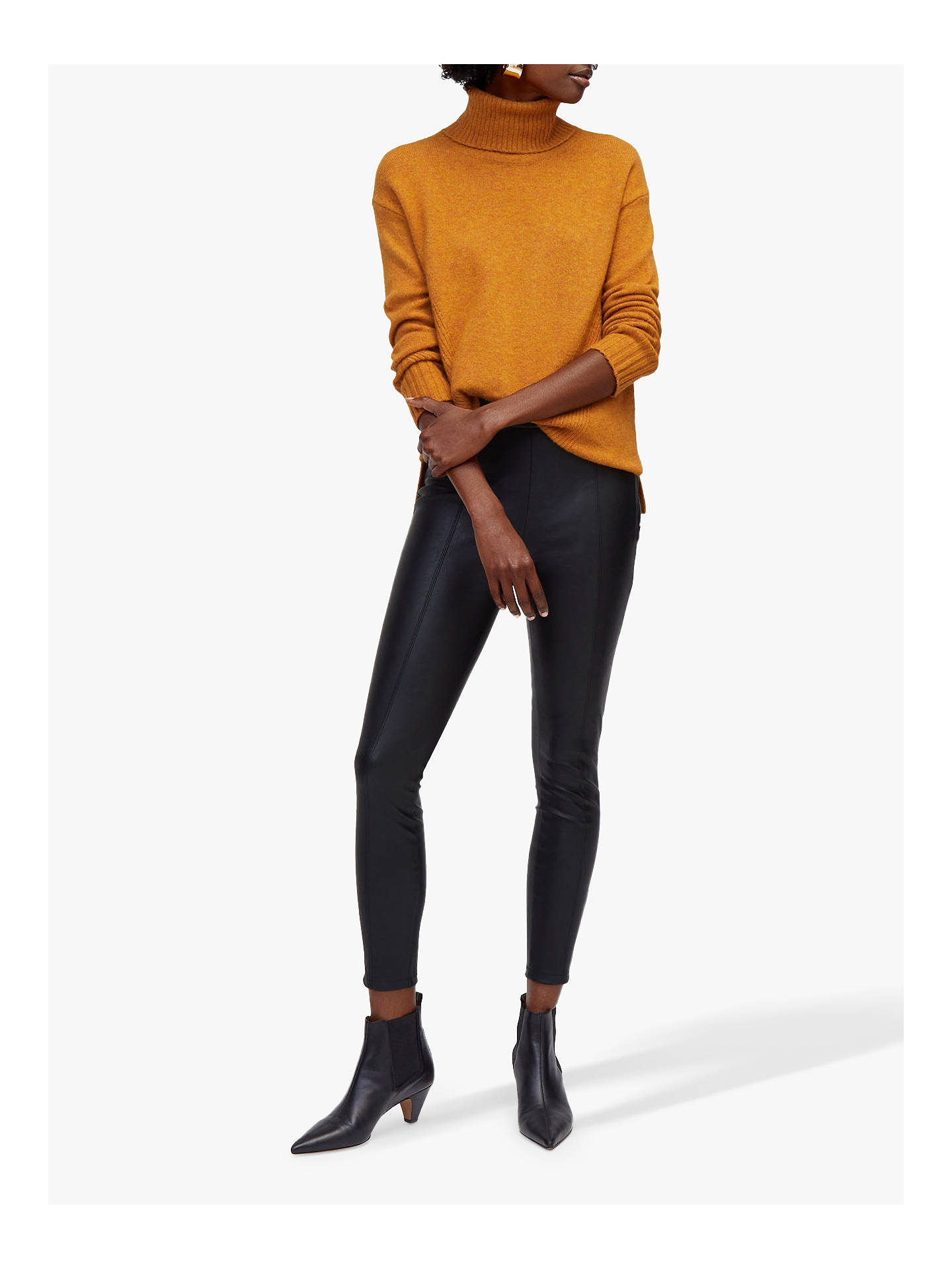 BuyWarehouse Faux Leather Trousers, Black, 12 Online at johnlewis.com
