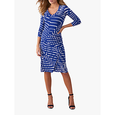 Pure Collection Jersey Dress, Blue Geo Print