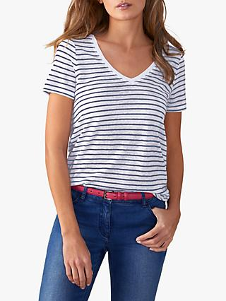 Pure Collection Striped Linen T-Shirt, White/Navy