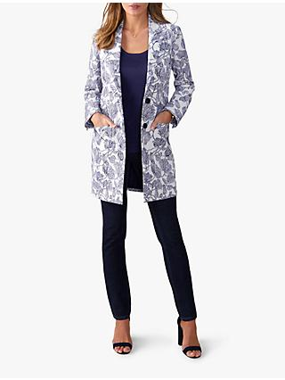 Pure Collection Floral Jacquard Coat, Blue Floral
