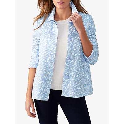 Pure Collection Soft Cotton Jacket, Pale Blue Floral