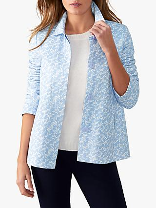Pure Collection Soft Cotton Jacket, Pale Blue Floral