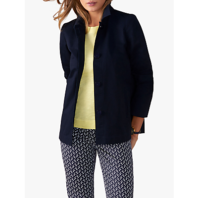 Pure Collection Single Breasted Cotton Jacket, Navy