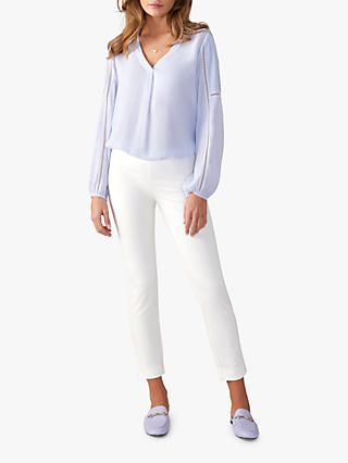 Pure Collection Cotton Stretch Cropped Trousers, Soft White