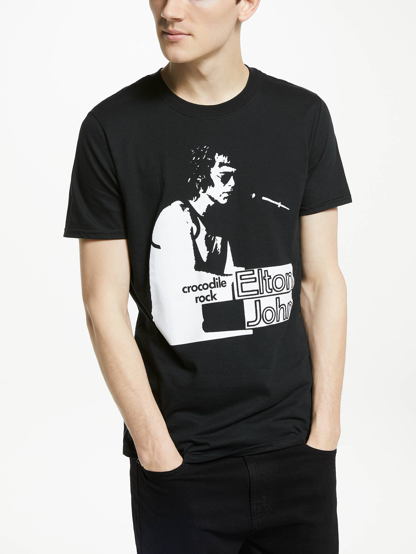 bf1147cca4f8 Buy Elton John Crocodile Rock Graphic T-Shirt, Black, XL Online at  johnlewis ...