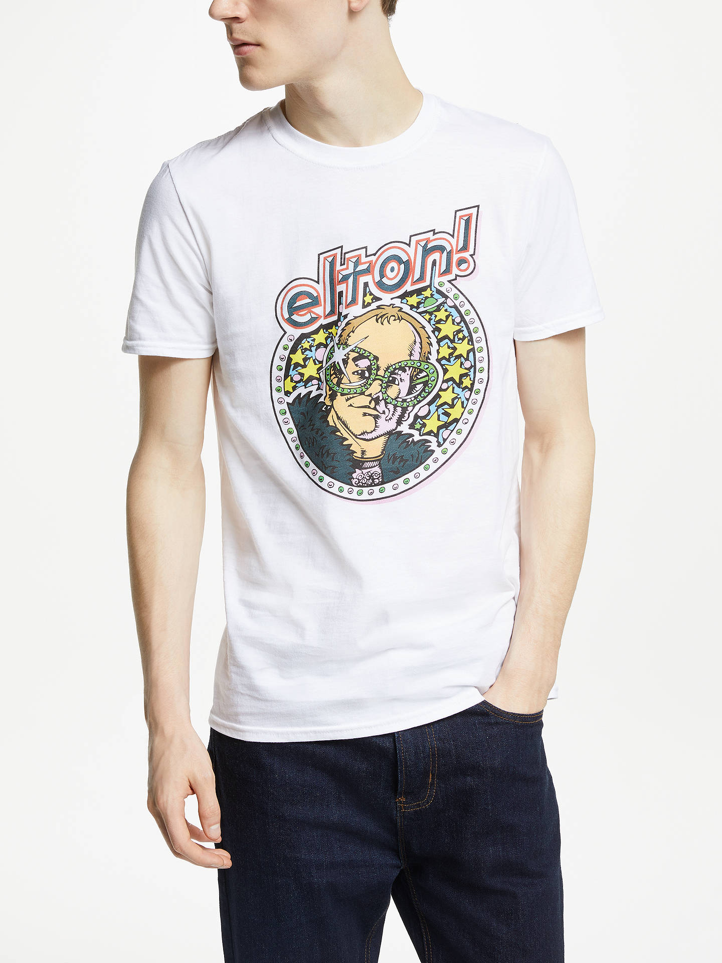 aa872b4c Buy Elton John Vintage Elton Graphic T-Shirt, White, M Online at johnlewis  ...