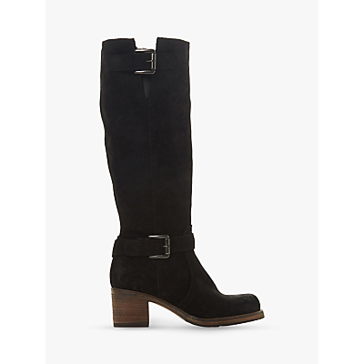 Dune Tansey Knee High Boots, Black Suede