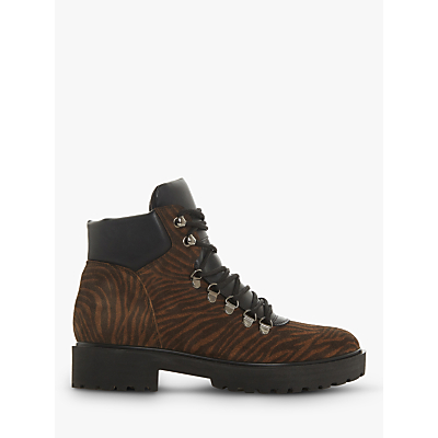 Dune Peakie Tiger Print Lace Up Ankle Boots, Brown Suede