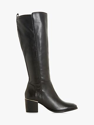 7e9b6aacd Dune Trinney Leather Knee High Block Heel Boots