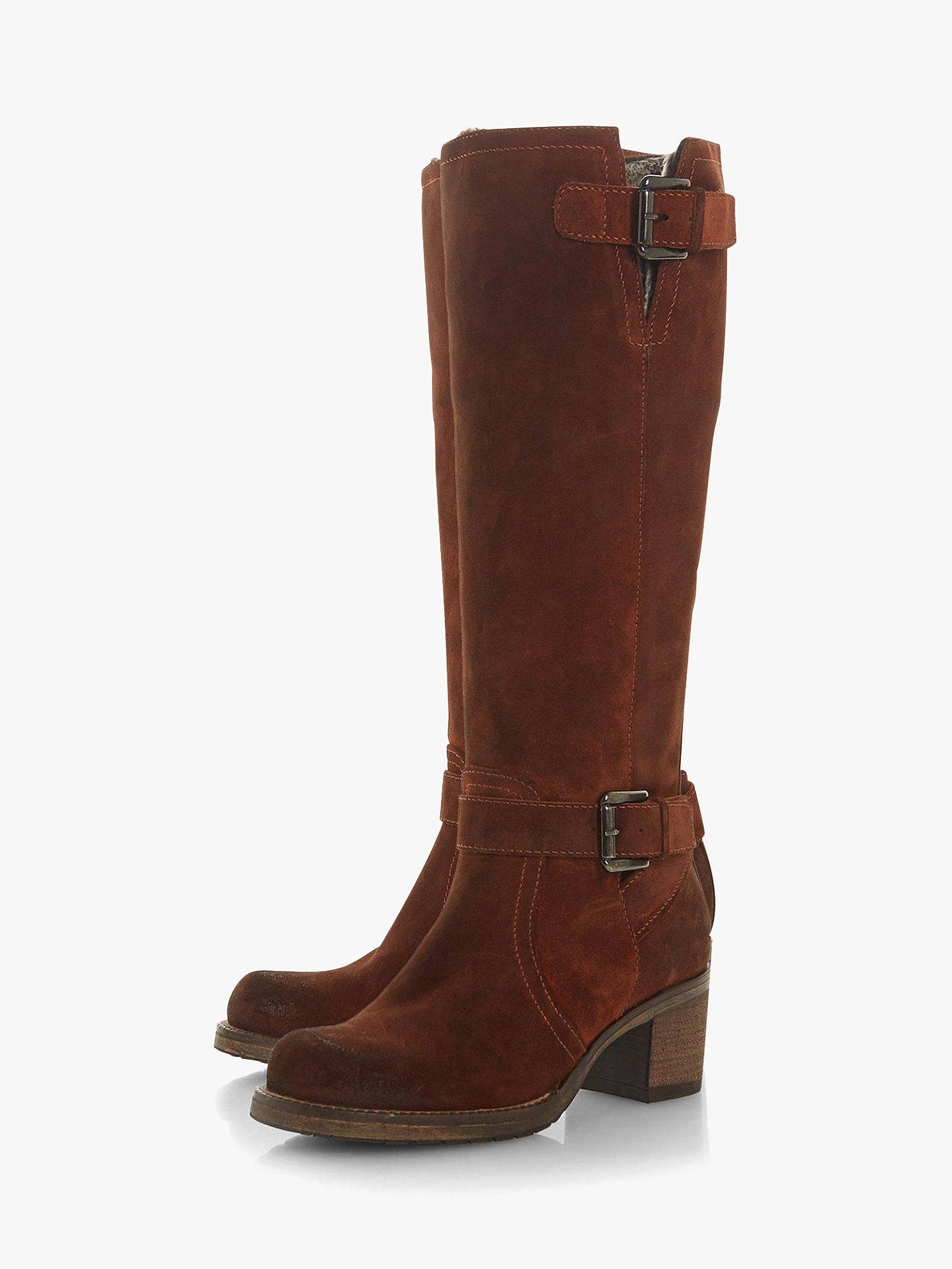 Buy Dune Tansey Knee High Boots, Chestnut Suede, 3 Online at johnlewis.com